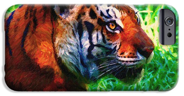 Eye Of The Tiger iPhone Cases - Siberian Tiger . Photoart iPhone Case by Wingsdomain Art and Photography