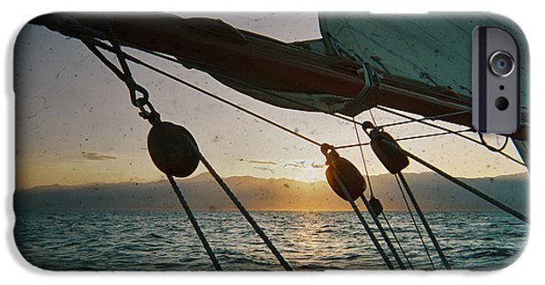 Sailboat iPhone Cases - Sicily Sunset Sailing Solwaymaid iPhone Case by Dustin K Ryan