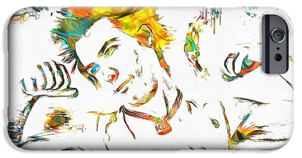 Bassist iPhone Cases - Sid Vicious Watercolor Paint Splatter iPhone Case by Dan Sproul