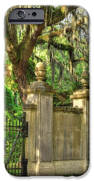 Historic Site iPhone Cases - Side Gate of Wormsloe iPhone Case by Linda Covino