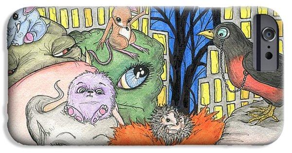 Elephants iPhone Cases - Side kicks iPhone Case by Julie McDoniel