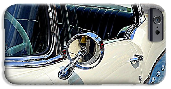 Old Cars iPhone Cases - Side Mirror Bling iPhone Case by Georgia Brushhandle