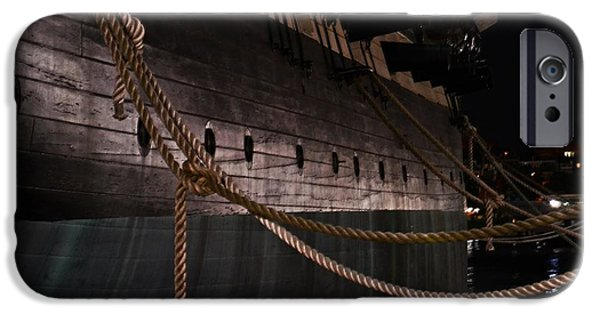 Constellations iPhone Cases - Side of The USS Constellation Navy Ship in Baltimore Harbor iPhone Case by Marianna Mills