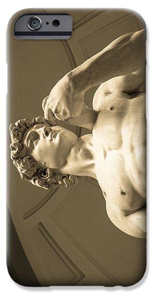 David Sculptures iPhone Cases - Sideways David iPhone Case by Terry Baldridge