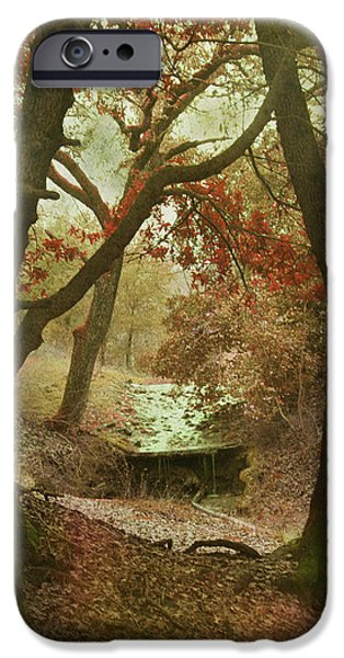 Red Leaf Digital Art iPhone Cases - Sighs of Love iPhone Case by Laurie Search