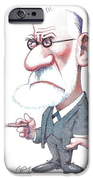 Sigmund Freud, Caricature iPhone Case by Gary Brown