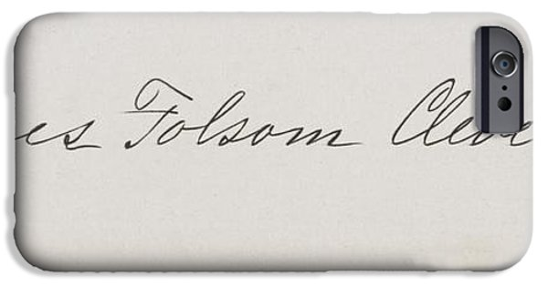First Lady Drawings iPhone Cases - Signature Of Frances Clara Folsom iPhone Case by Ken Welsh