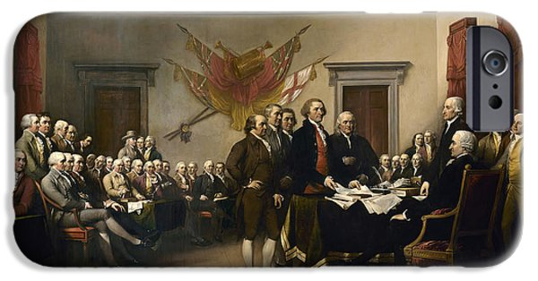 Thomas Jefferson Paintings iPhone Cases - Signing The Declaration Of Independance iPhone Case by War Is Hell Store