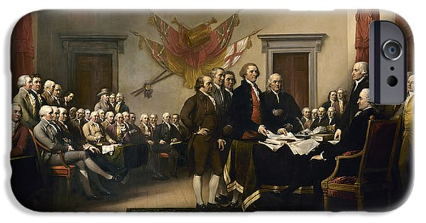 American Independance iPhone Cases - Signing The Declaration Of Independance iPhone Case by War Is Hell Store