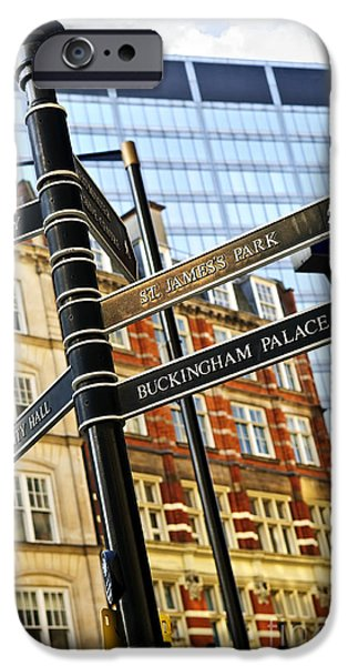 United iPhone Cases - Signpost in London iPhone Case by Elena Elisseeva