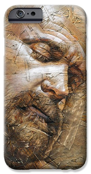 Face Mixed Media iPhone Cases - Silence iPhone Case by Chris  Lopez