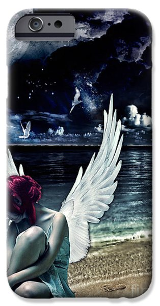 Night Angel iPhone Cases - Silence of an Angel iPhone Case by Mo T