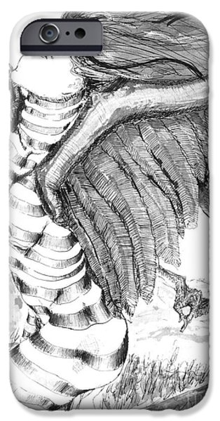 Surrealism Drawings iPhone Cases - Silent Flight iPhone Case by Ron Bissett