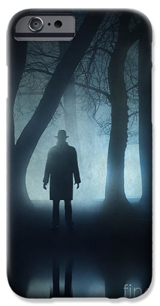 Eerie iPhone Cases - Silhouette Of Mysterious Man Reflected In Water At Night  iPhone Case by Lee Avison