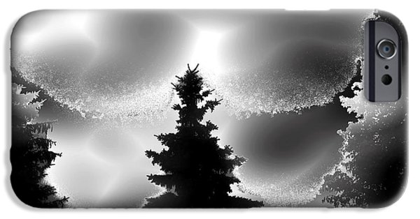 Abstract Digital iPhone Cases - Silhouette Trees through Fog iPhone Case by Stephen  Killeen