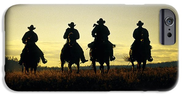 Working Cowboy Photographs iPhone Cases - Silhouetted Cowboys iPhone Case by Inga Spence