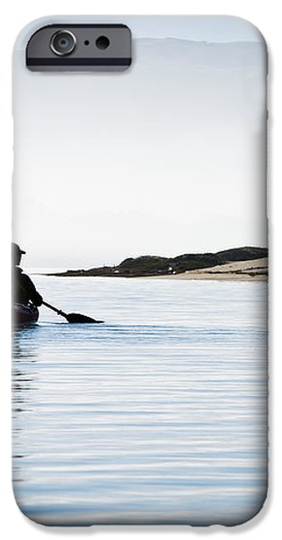 Silhouetted Kayaker in Morro Bay iPhone Case by Bill Brennan - Printscapes