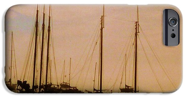 Tall Ship Mixed Media iPhone Cases - Silhouetted Sailboats iPhone Case by Desiree Paquette