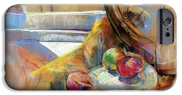 Wine Bottles Pastels iPhone Cases - Sill Life With Onions iPhone Case by Daun Soden-Greene