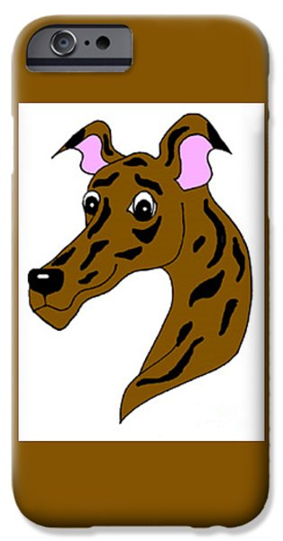 Dogs iPhone Cases - Silly Brindle iPhone Case by Jennifer Howard