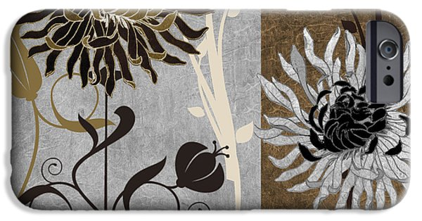 Art Nouveau Flower iPhone Cases - Silver and Cinnamon I iPhone Case by Mindy Sommers