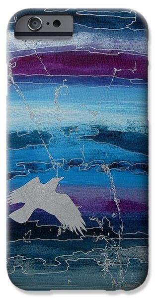 Business Paintings iPhone Cases - Silver Bird iPhone Case by Louise Adams