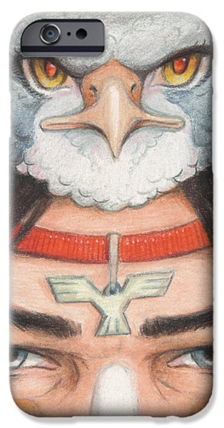 Silver Hawk Warrior iPhone Case by Amy S Turner