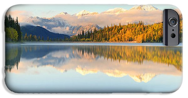 Mist iPhone Cases - Silver Lake Panorama iPhone Case by Johnny Adolphson