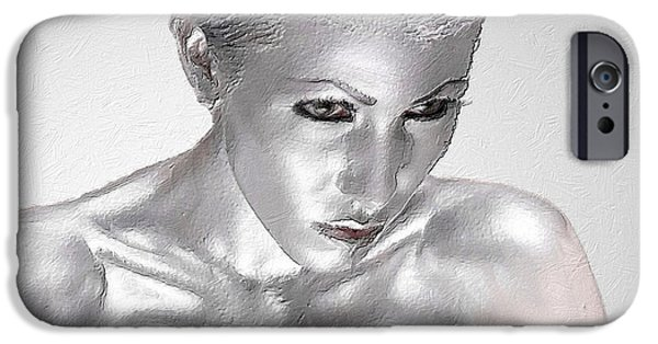 Gray Hair Mixed Media iPhone Cases - Silver Woman 2 iPhone Case by Tony Rubino