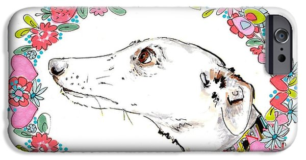 Greyhound iPhone Cases - Silvertips Greyhound With Floral Border  iPhone Case by Jo Chambers