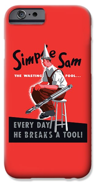 Waste iPhone Cases - Simple Sam The Wasting Fool iPhone Case by War Is Hell Store