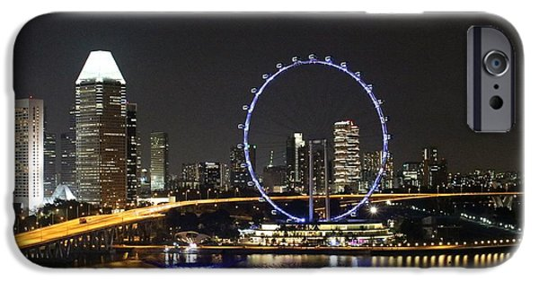 Buildings By The Ocean iPhone Cases - Singapore Eye iPhone Case by Diane Height