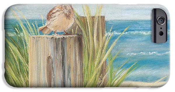 Clouds Pastels iPhone Cases - Singing Greeter at the Beach iPhone Case by Michelle Wiarda