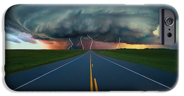 Lightning Bolts iPhone Cases - Single Lane Road Leading To Storm Cloud iPhone Case by Don Hammond