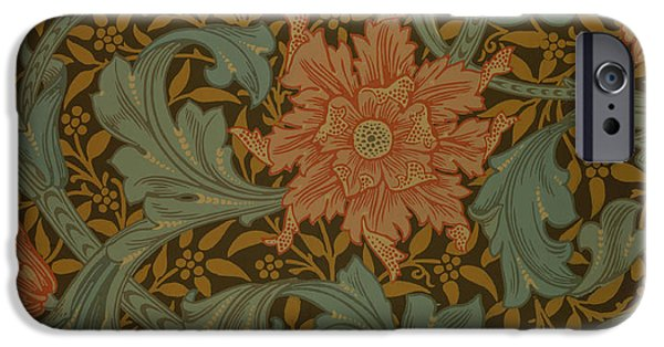 Florals Tapestries - Textiles iPhone Cases - Single Stem wallpaper design iPhone Case by William Morris