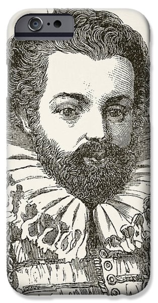 Politician iPhone Cases - Sir Christopher Hatton 1540 To 1591 iPhone Case by Ken Welsh