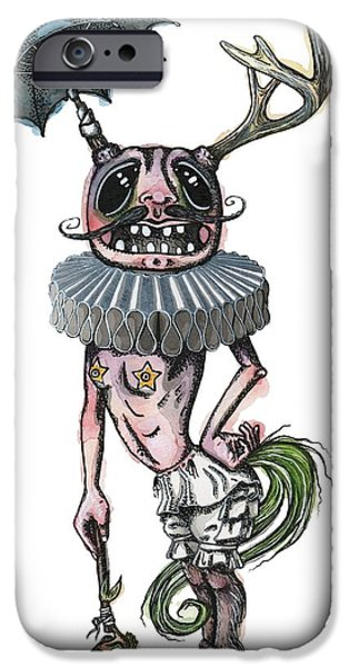 Umbrella Mixed Media iPhone Cases - Sir Earnest Picklebottom iPhone Case by Kelly Jade King