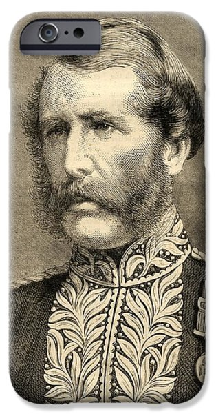 Police Drawings iPhone Cases - Sir Edmund Henderson, 1821-1896. Chief iPhone Case by Ken Welsh