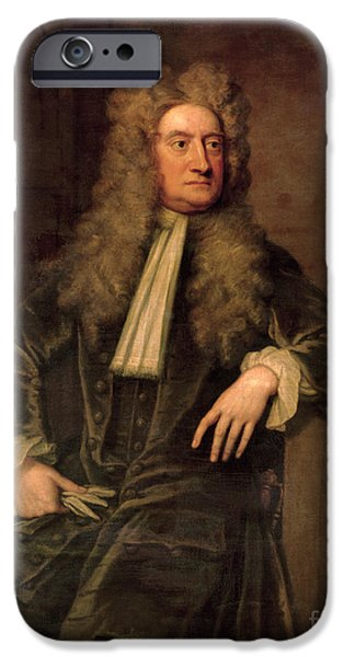 Figure iPhone Cases - Sir Isaac Newton  iPhone Case by Sir Godfrey Kneller