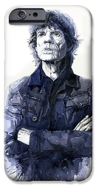 Mick Jagger Paintings iPhone Cases - Sir Mick Jagger iPhone Case by Yuriy Shevchuk