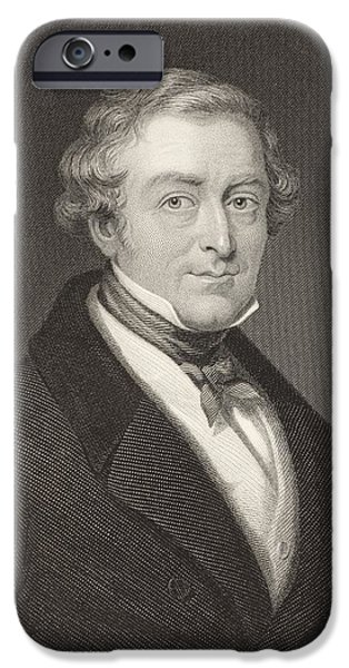 Police Drawings iPhone Cases - Sir Robert Peel, 2nd Baronet, 1788 To iPhone Case by Ken Welsh