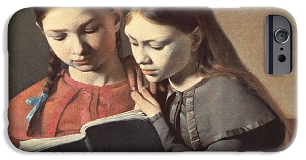 Youthful iPhone Cases - Sisters Reading a Book iPhone Case by Carl Hansen