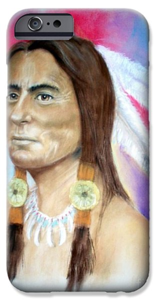 Bulls Pastels iPhone Cases - Sitting Bull iPhone Case by John De Young