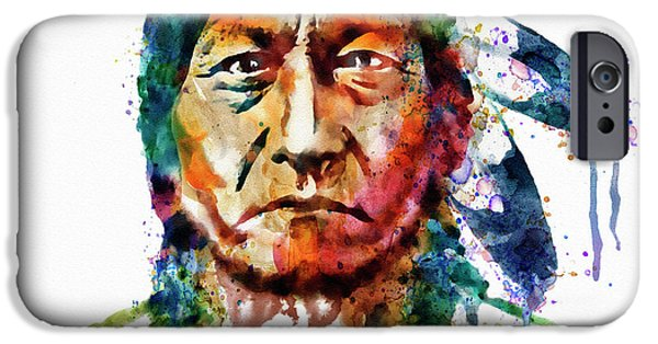 Sitting Digital Art iPhone Cases - Sitting Bull watercolor painting iPhone Case by Marian Voicu