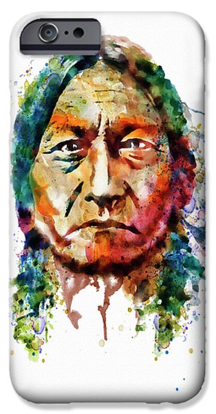 Modern Digital Digital Digital iPhone Cases - Sitting Bull watercolor painting iPhone Case by Marian Voicu