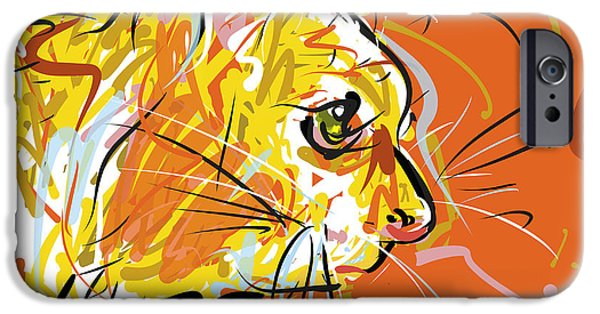 All American Drawings iPhone Cases - Sitting Kitty iPhone Case by Brett LaGue