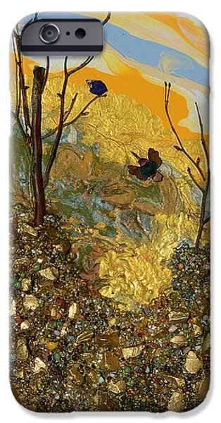Modern Abstract iPhone Cases - Sitting On A Gold Mine iPhone Case by Donna Blackhall