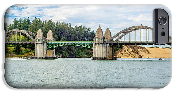 Architecture Tapestries - Textiles iPhone Cases - Siuslaw River draw Bridge  iPhone Case by Dennis Bucklin