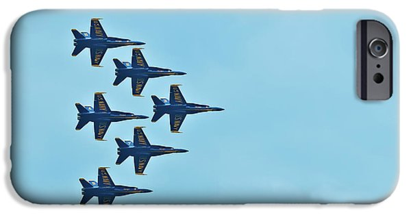 Angel Blues iPhone Cases - Six Blue Angels in the Clear Blue Sky iPhone Case by  Onyonet  Photo Studios