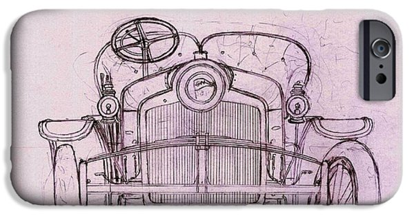 Suspension Drawings iPhone Cases - Sizaire et Naudin model F sketch iPhone Case by Domingo Gorriz